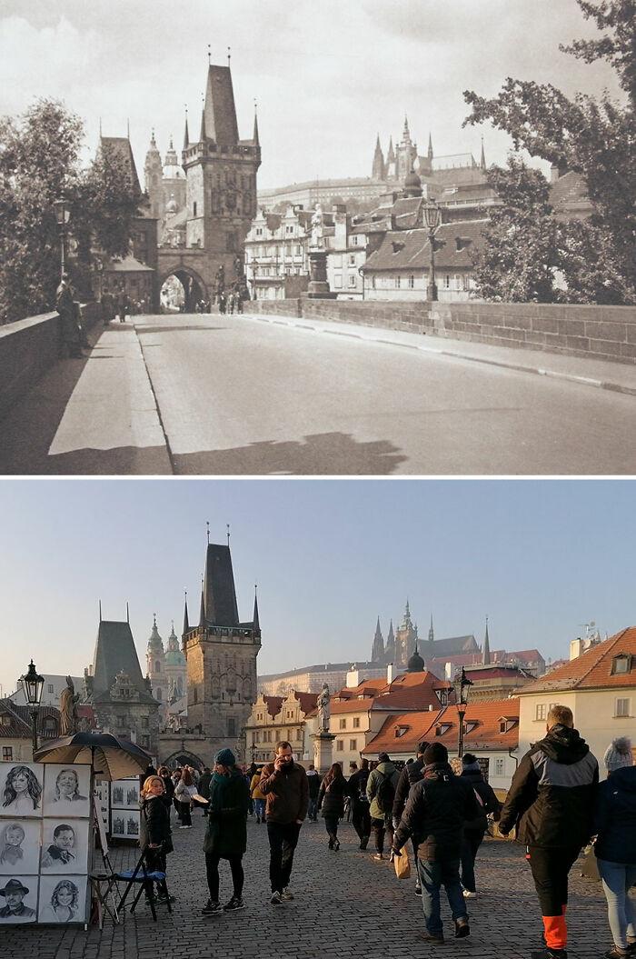 Puente de Carlos, Praga, Chequia, (publicado en) 1941 vs. 2020