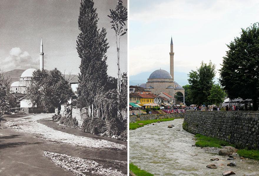 Sinan Pasha Mosque, Prizren, Kosovo, 1926 vs. 2018