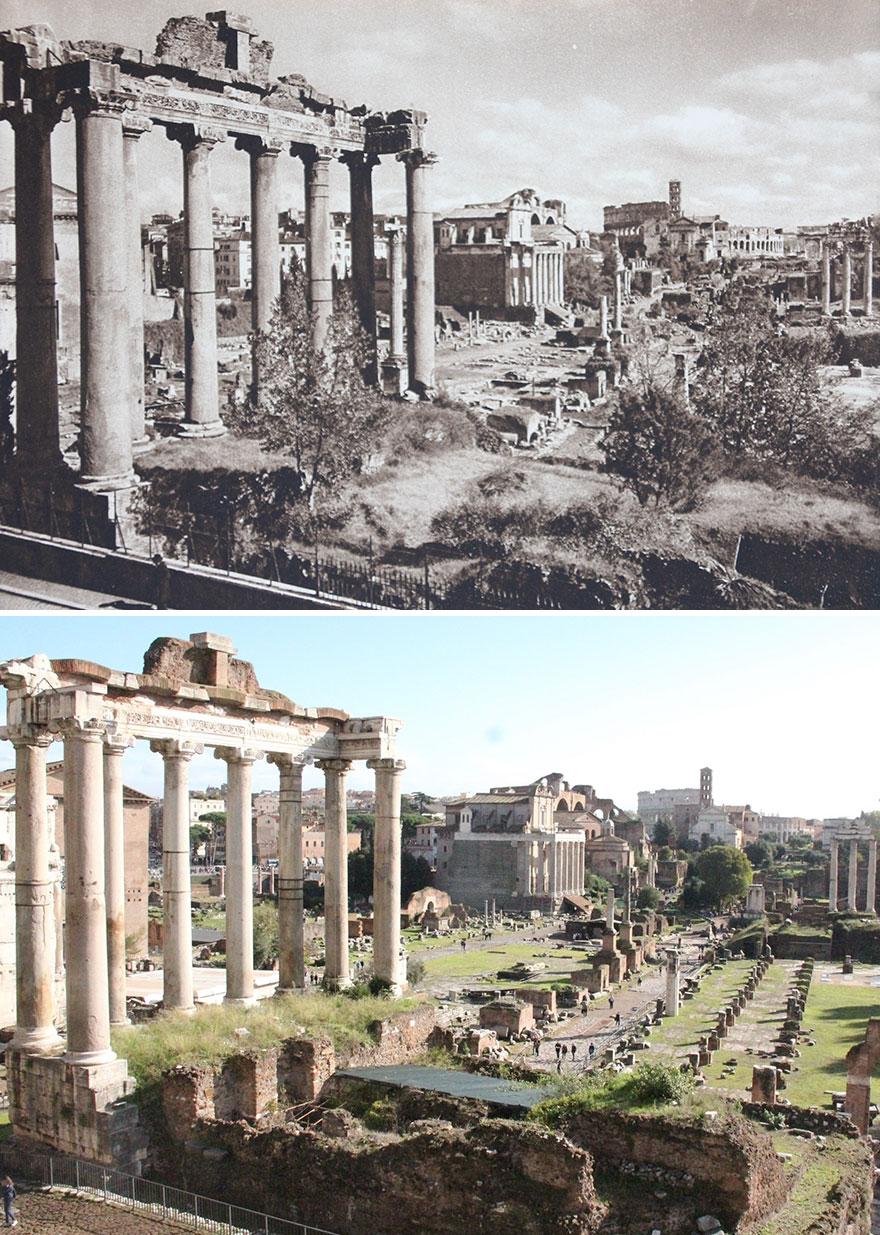 Forum Romanum, Rome, Italy, 1925 vs. 2016