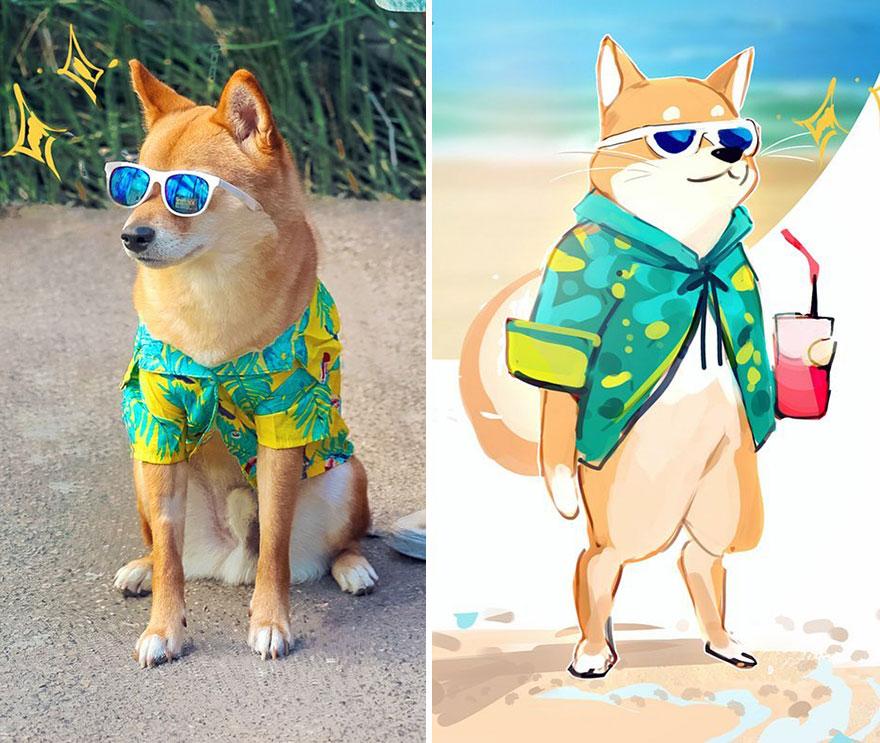 Bu Dijital Sanatçı Köpeğini Bir Çizgi Film Haline Getiriyor Ve Sonuç Daha Sevimli Olmadı