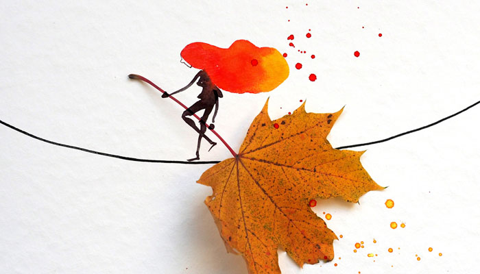 Autumn Is My Favorite Season, So I Made 31 Illustrations Out Of Leaves And Watercolor