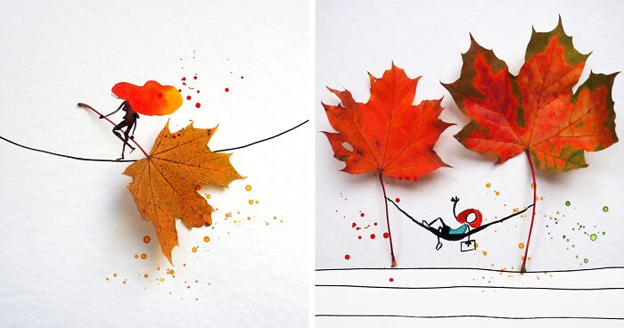 I Make Fall-Inspired Illustrations With Autumn Leaves