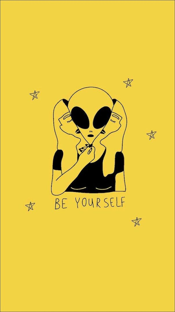 be-yourself-written-in-black-on-yellow-background-cute-funny-wallpapers-drawing-of-alien-disguised-as-woman-5f9aee62c529e.jpg
