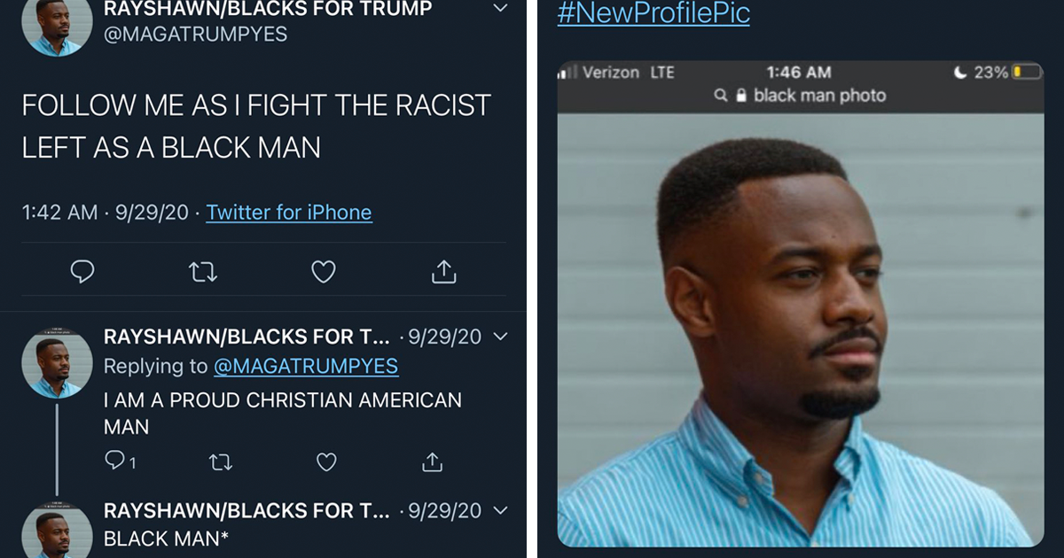 Fake Black Trump Supporter On Twitter Forgets To Crop Out Google Search For His Profile Pic, And It's Cracking People Up