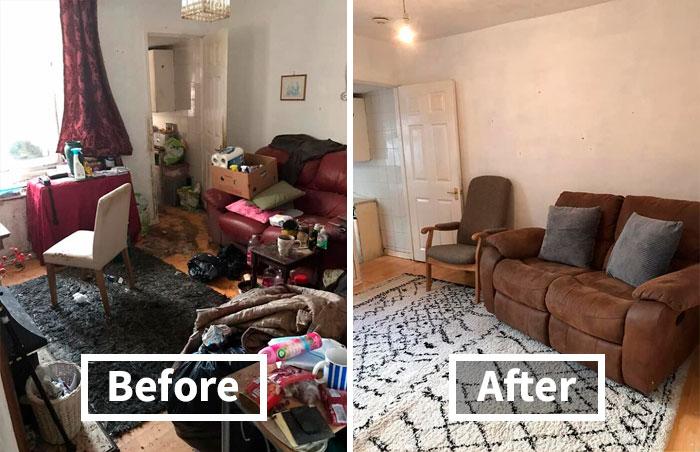 'Limpieza de 50 horas': El servicio de limpieza comparte las fotos de antes y después de limpiar la casa de un anciano viudo que parecía infernal