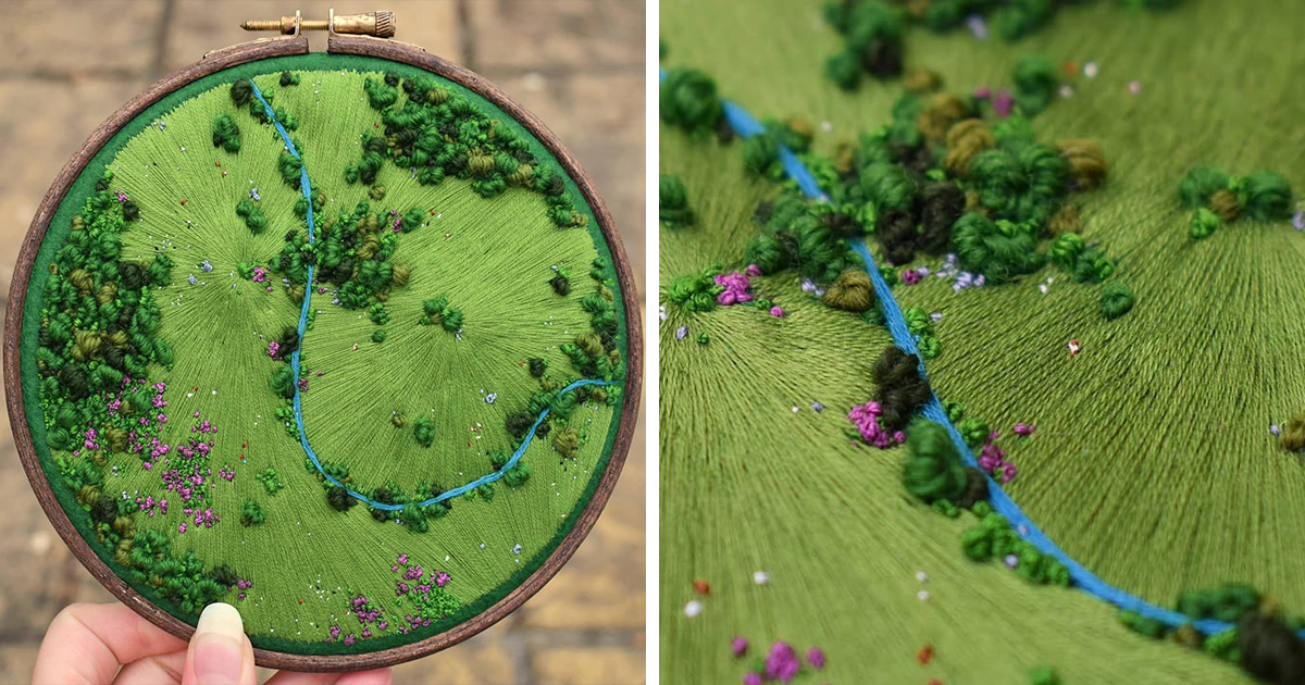 3D Landscape Embroidery Shows Colorful Aerial Views Of Rural England (35 Pics)