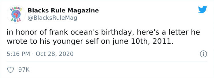 98K Individuals On Twitter Cannot Maintain Again The Tears After Studying The Healthful Letter Frank Ocean Wrote To His Youthful Self Again In 2011