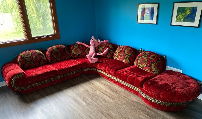 Hello Friends! Here Are The Pictures Of The Fantabulous, Exquisite, Scandalous 1970's Red Velvet Sectional I Purchased Today For $100. I Went Back To Goodwill When They Opened This Morning And Boom.... Here It Is. It's In Fantastic Shape. I'm Thinking A Grandma Owned It And It Was Barely Sat On. However....i Have No Intention Of Ever Doing A Black Light Test Over It. So Happy This Is Making All Of You Smile. It Sure Makes Me Happy