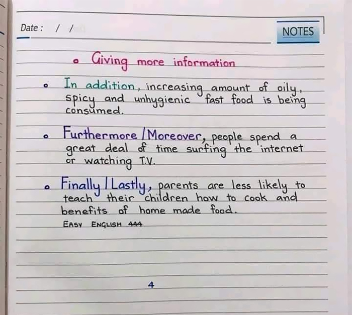 Giving more information in an essay
