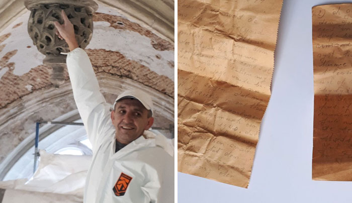 Worker Finds A Message From 1941 Hidden In The Roof Of This Church And It's Giving A Different Perspective On Life