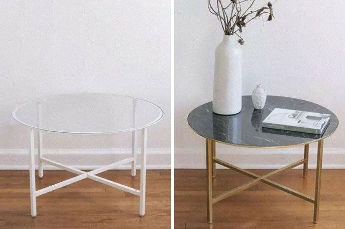 Add Black Marble Contact Paper And Gold Paint To The Vittsjö Coffee Table.