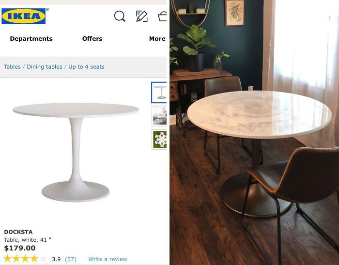 Plastic Docksta Table Glow-Up. The Marble Table I Wanted From World Market Was $550 - So I Turned This $180 Table From IKEA Into The Table Of My Dreams With Spray Paint, Table Epoxy, And A Blow Torch 🔥 #diywin #ikeahacks