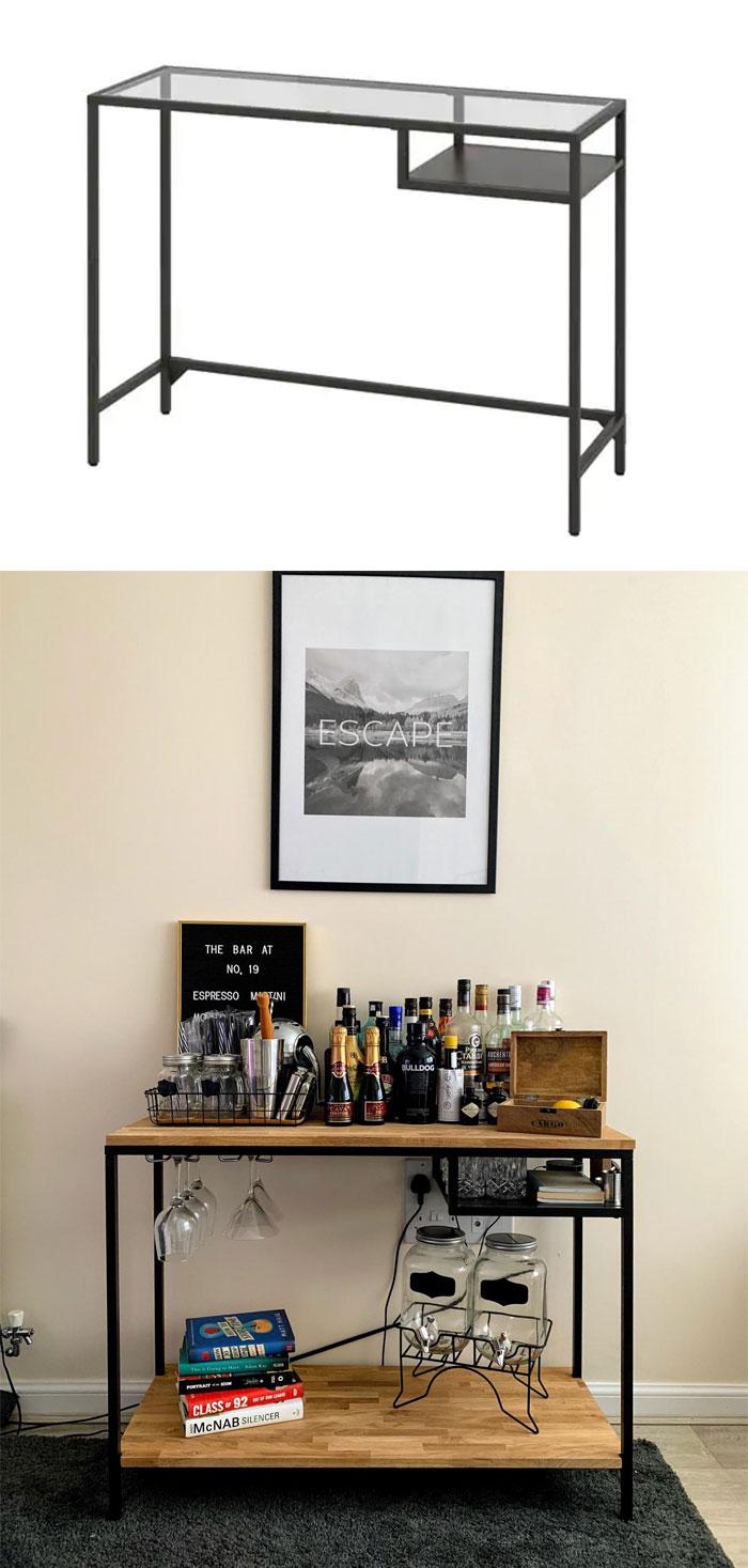 Turned A Vittsjo Laptop Desk Into A Home Bar