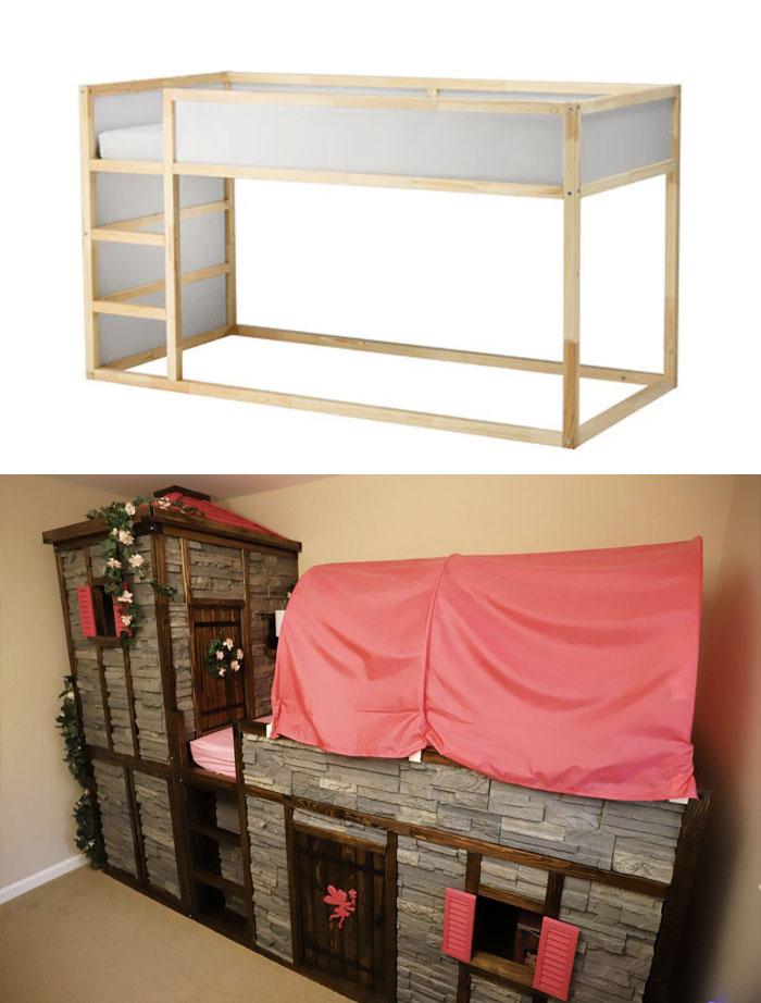 "Creating A ""Fairy Princess Castle Bed"" From An IKEA Kura"