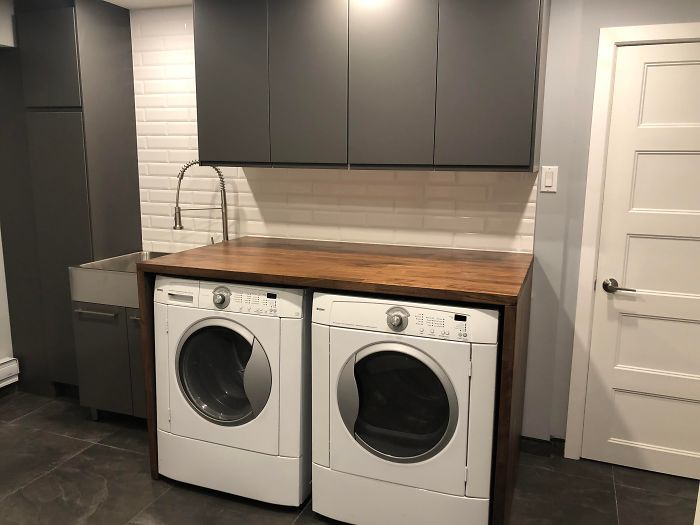 Used Karlby Countertops As Laundry Room Counter! Butt Joint The Counter Top To The Legs! Voxtorp Cupboards On The Top! Thoughts!