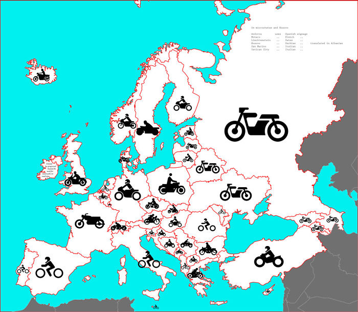 What Motorcycles Look Like Across Europe (Based On The Prohibitory Road Sign)
