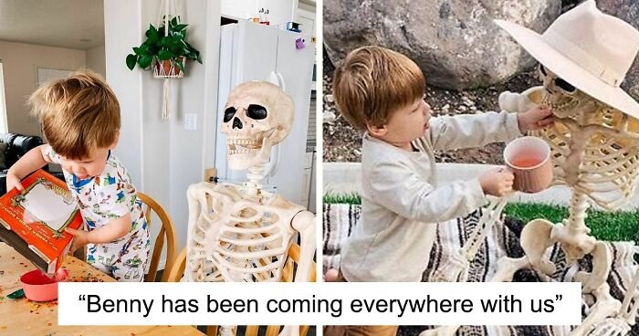 Two-Year-Old Boy Befriends A Life-Size Skeleton Named Benny