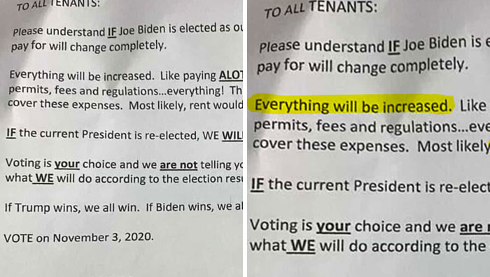 Landlord Makes It Clear That He Will Raise The Rent If Biden Gets Elected