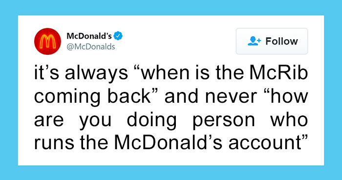 Person Running The McDonald's Twitter Account Shares How Nobody Ever Asks How He's Doing, Receives Support From Various Famous Brand Accounts