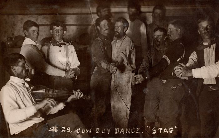 "Postcard: 1910, Provenance: Us. Note: ""Cowboy Dance 'Stag', October 1910"""