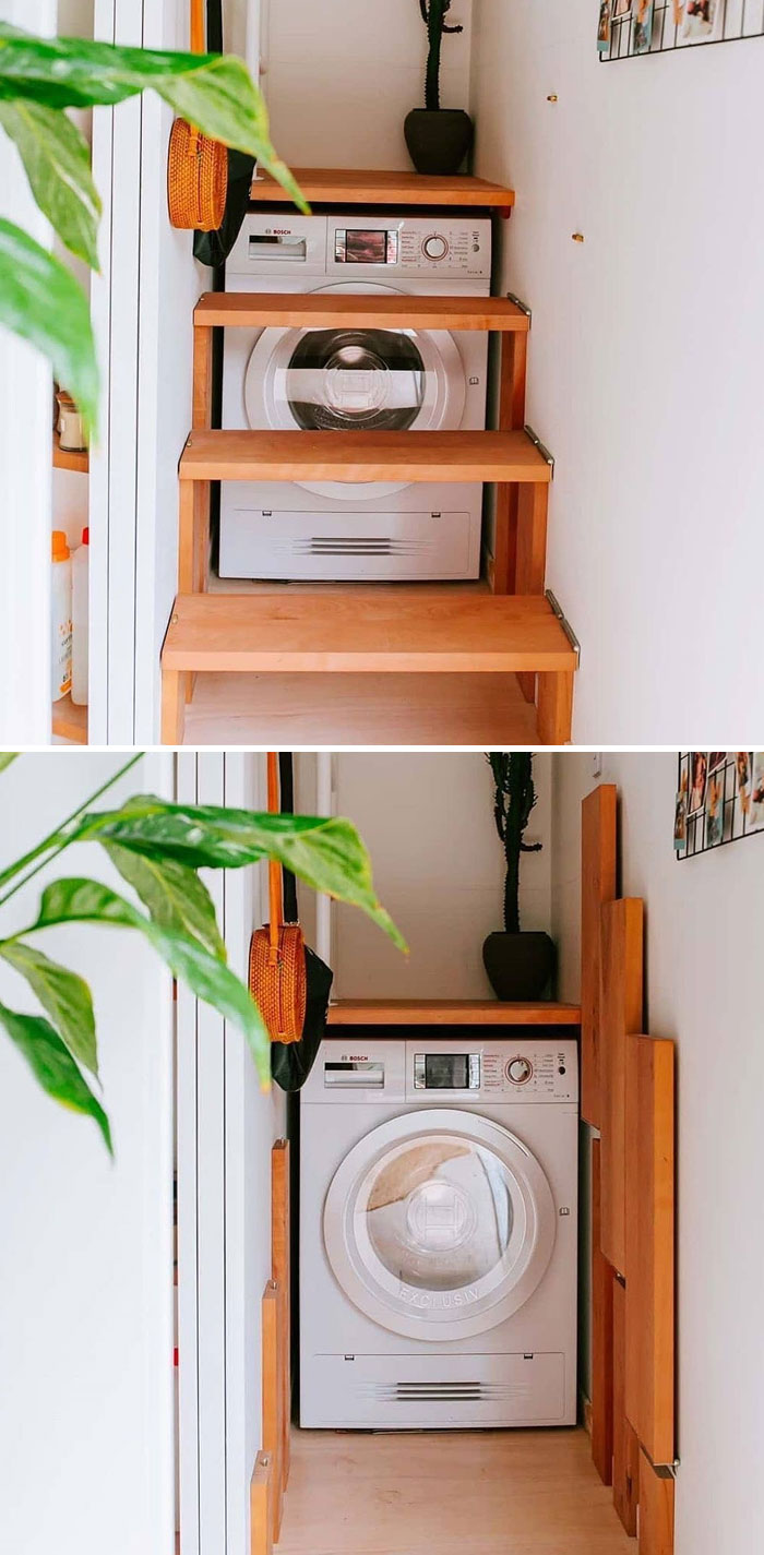 Folding Loft Stairs With Access To Washing Machine