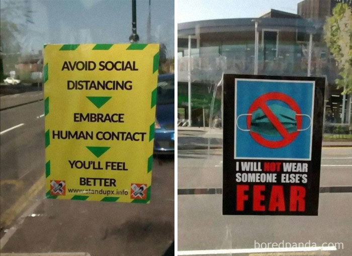 People In UK City Have Been Putting Up Posters In Bus Stops Urging People To Ignore Guidance For Coronavirus