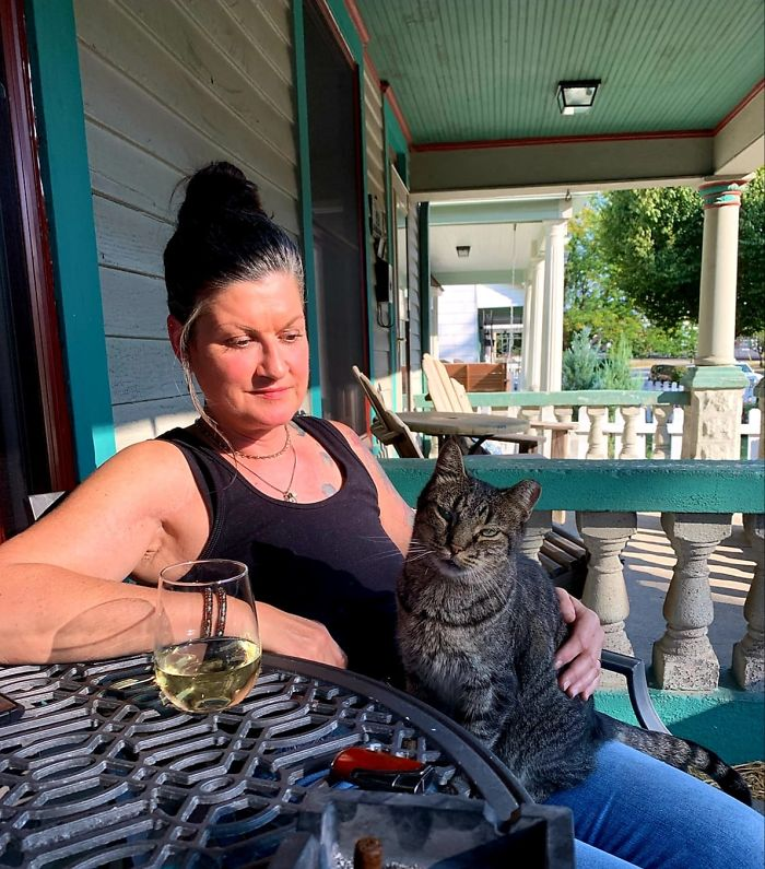 My House. Not My Cat. It Only Took 10 Years, But One Of Our Long Term Ferals We Have Cared For Just Crawled Into My Lap. I've Never Felt More Honored