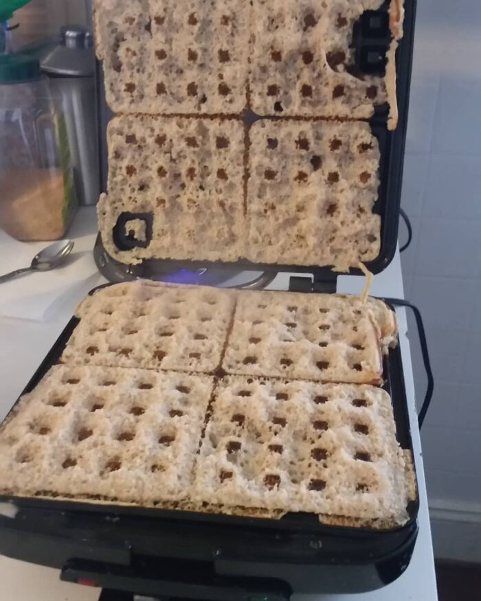 Pregro Brain Strikes Again. This Is What Happens When You Forget To Put Eggs In Your Waffle Batter Ooopsy. I Swear These Days My Brain Is Mush.