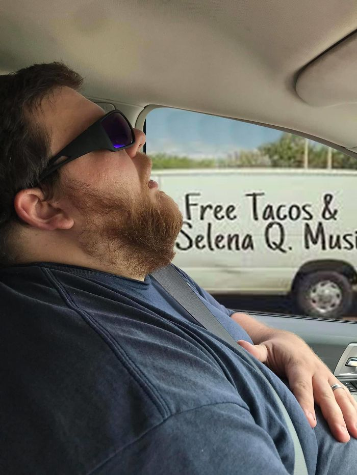 Guy Falls Asleep On A Road Trip, Wife Asks People To Photoshop What He Missed While Sleeping (30 Pics)