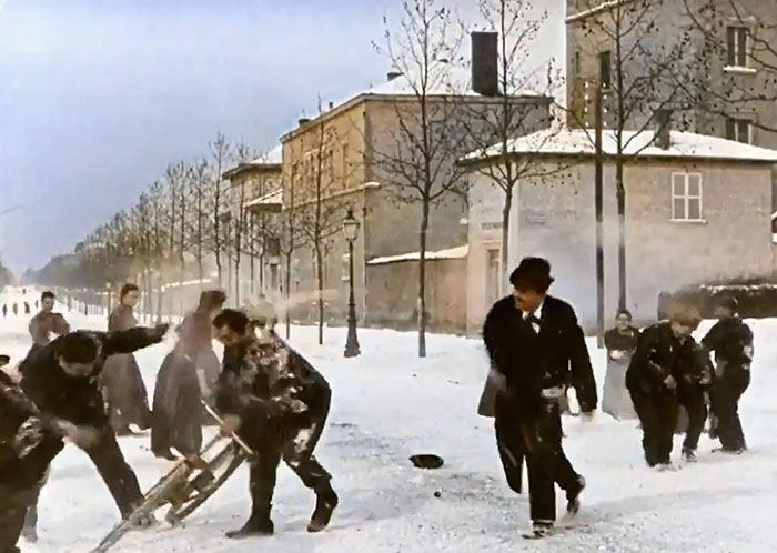 1896 B&W Film Of Snowball Fight in France is Colorized And Speed-Adjusted To Look Incredibly Modern
