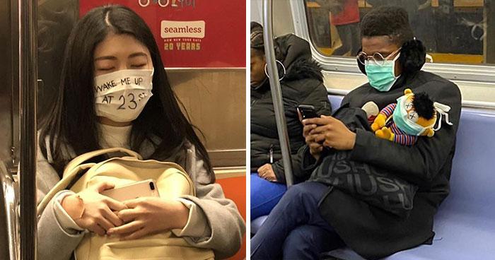Esta página de Instagram publica las mascarillas anticoronavirus más ridículas vistas en el metro (37 fotos)