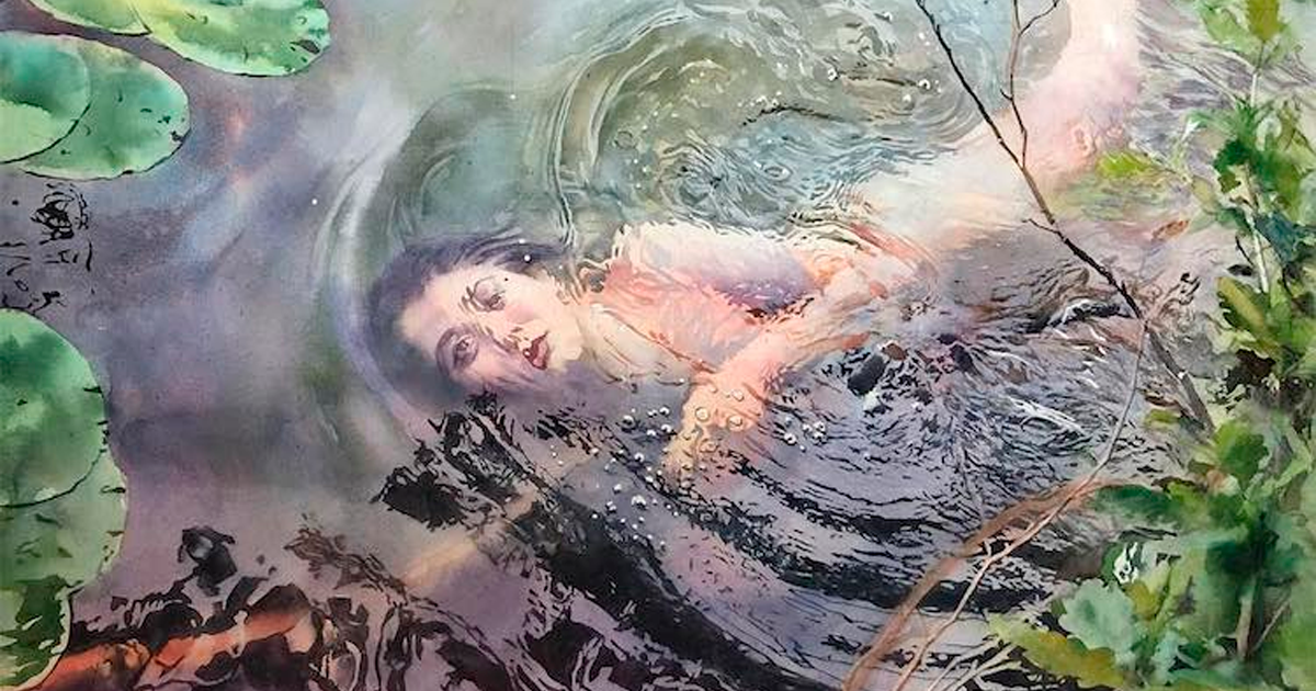Artist Creates Stunning Watercolor Paintings Of People Submerged In Water (27 Pics) - bored panda