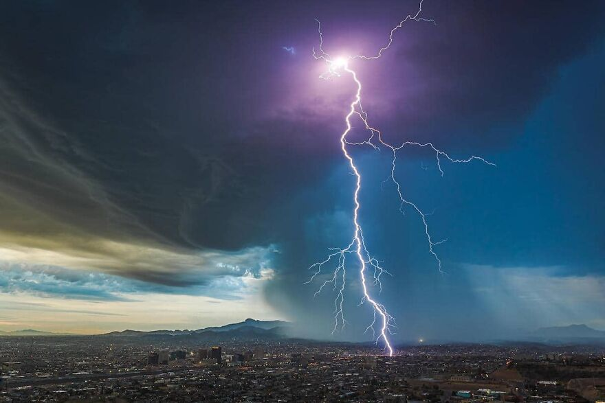 Public's Winner: 2nd Place 'Predawn Thunderstorm Over El Paso, Texas' By Lori Grace Bailey