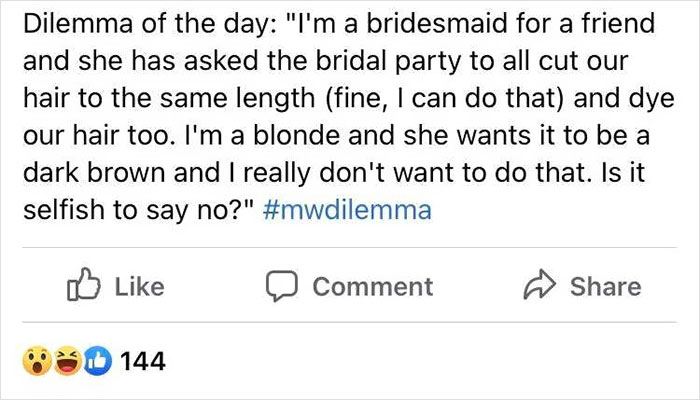 Bridezilla Wants All Her Bridesmaids To Cut And Dye Their Hair So They Look Identical