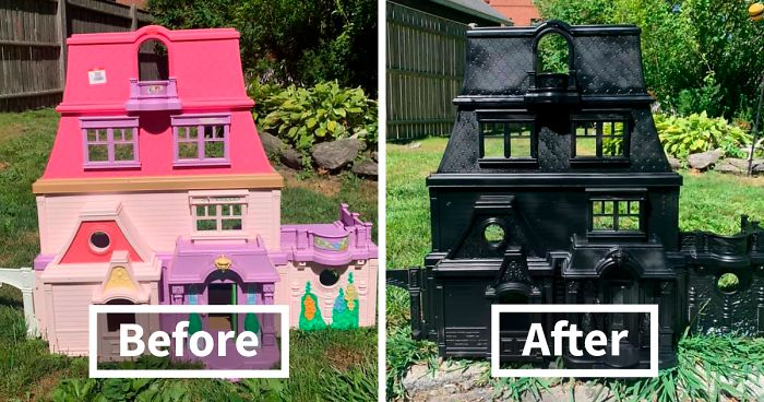Mom Starts Upcycling Thrifted Plastic Dollhouses Into Spooky Mansions, And She's Absolutely Nailing It