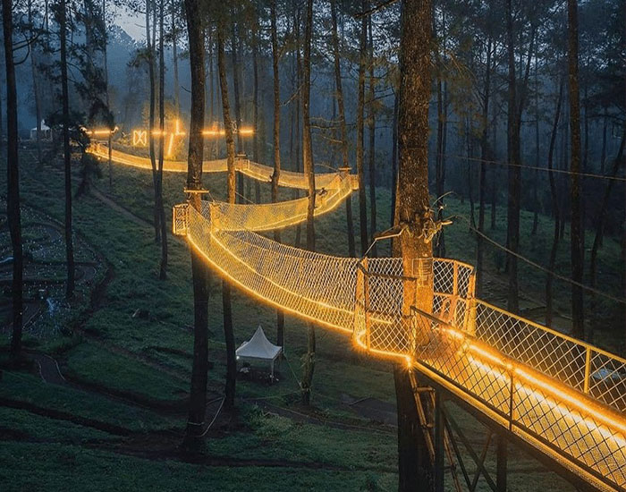 This Forest In Indonesia Is Home To A Magical Bridge Of Lights Suspended Among Trees