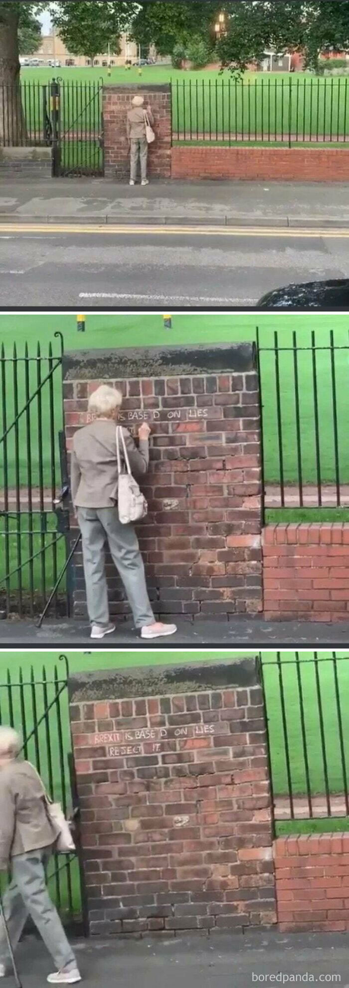Old Lady On A Brick Wall