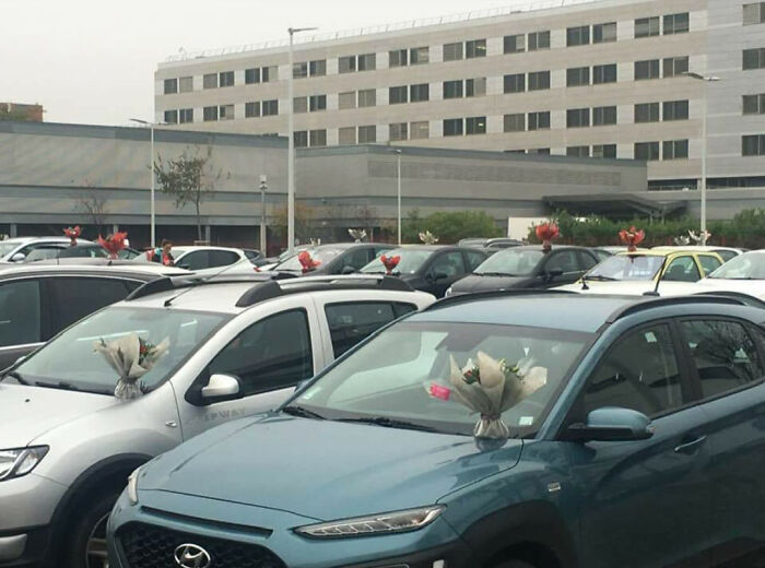 This Florist Places Hundreds Of Bouquets On Caregivers' Cars In A Hospital Parking LotAfter Being Forced To Throw Away Unsold Flowers