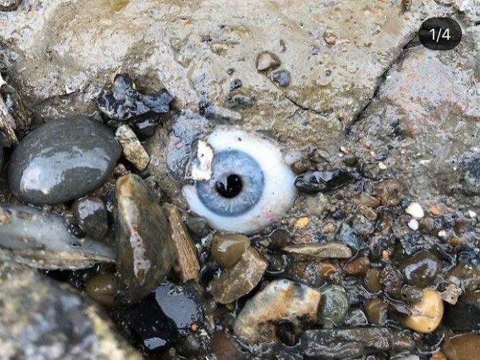 Ojo de cristal incrustado en una roca en la playa
