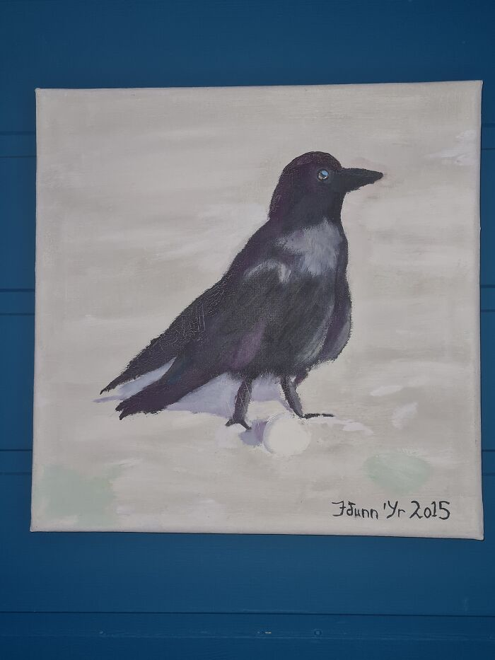 """""""Broken Wing"""". My Son And Hubby Both Love Ravens. Hung It Up On My Own Wall"""