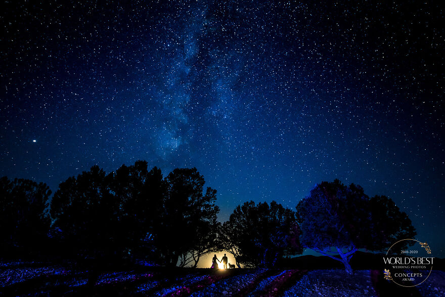 Couple And Puppy Against The Starry Night By J.La Plante