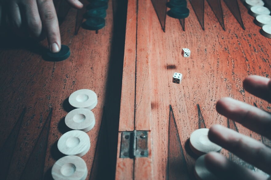 Here's What The Moment Looks Like From Different Angles When You Roll The Dice In Backgammon.