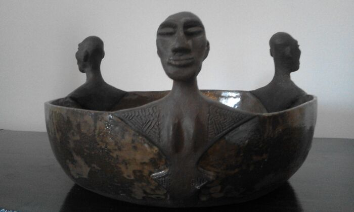 Couple Of Years Ago I Made Some Cly Art Inspired By African And Archaic Art - I'm Blond Blue Esed6and No One Expected This. I'm Proud Of This One.