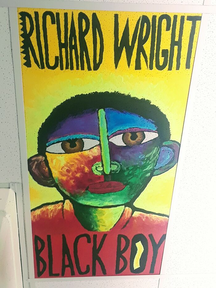 I Painted This Book Cover On A Ceiling Tile At My High School's Library