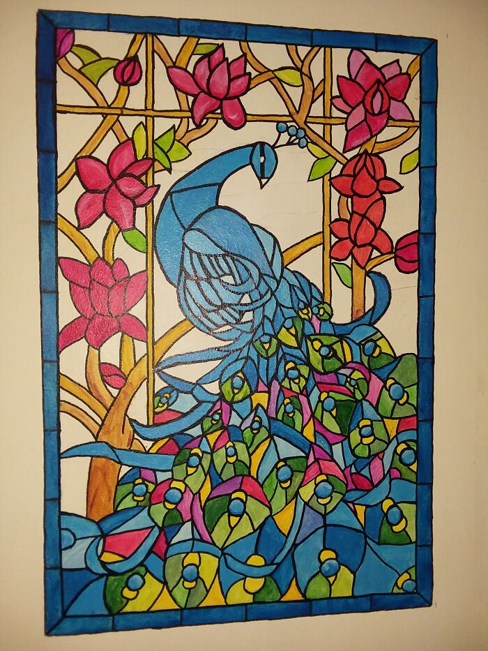 Stained Glass Peacock (Painted On A Wall)