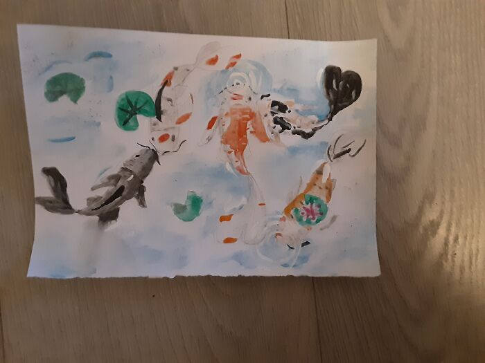 Water Colour Koi Fish By Me