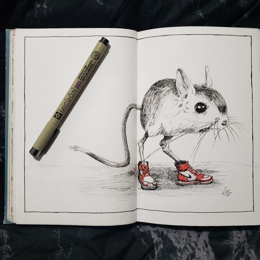 A Jerboa Showing Off His New Kicks