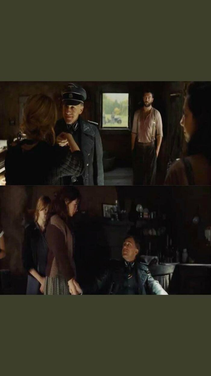 In Inglorious Bastards (2009), Colonel Landa Checks Each Of The Daughters Pulses To Assess Their Anxiety When He Conducts His Investigation Of The House