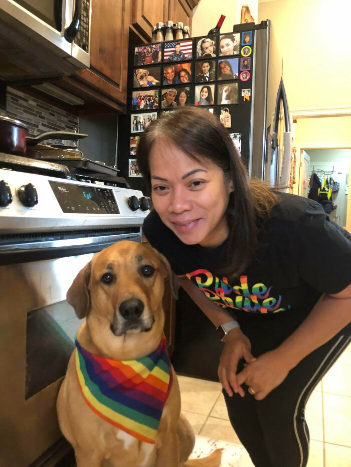 My Mom Sent Me This Picture Of Her And Our Family Dog Showing Their Pride. It Made Me Smile To Know They Support And Love Me And The Lgbt Community!