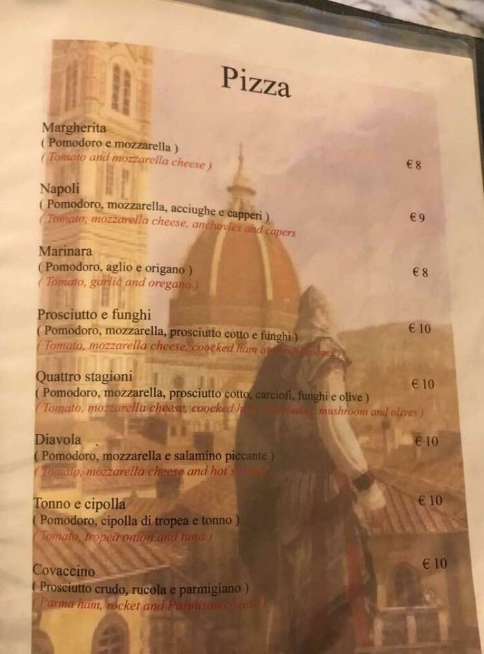 My Friend Is In Florence, Italy And This Restaurant He's At Has An Assassins Creed Screenshot As Their Menu Background